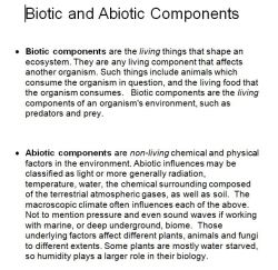 Biotic and Abiotic Components
