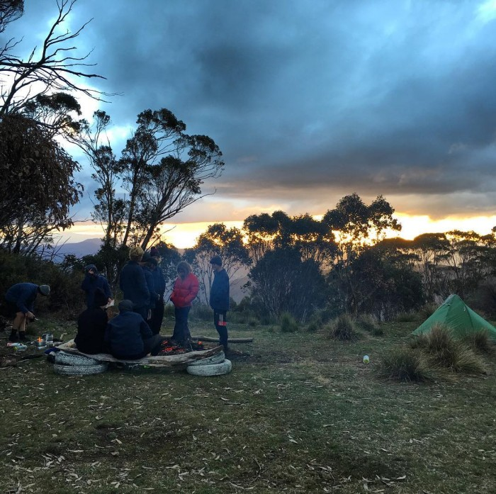 Dinner time for Group4 at the helipad bogong futuremakers jarmoclimb